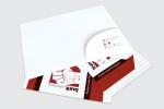Корпоративна папка с джоб и място за визитка, опаковъчен картон с бял гръб, пълноцветен едностранен печат.