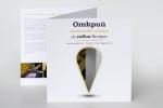 Дипляна Q5 с две гънки, офсетова хартия, пълноцветен печат, щанцована