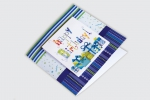 Поздравителна картичка с една гънка, изработена от няколко елемента и пълноцветен едностранен печат.