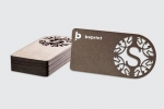 Визитни картички с едноцветен двустранен печат и лазерно рязане.