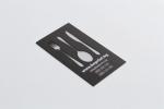 Визитни картички с едноцветен едностранен печат и лазерно рязане.