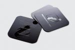 Визитни картички с квадратна форма и заоблени ъгли, двустранен печат и селективен лак.