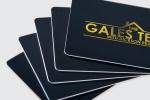 Визитна картичка, отпечатана върху PVC с мастили с ефект злато.
